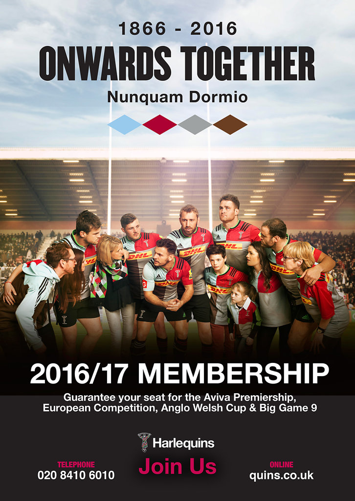 Poster for Harlequins Rugby Club Memebership