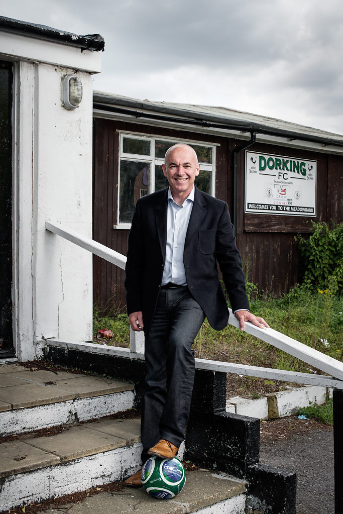 Grant Ashley photographed outside Dorking FC Clubhouse