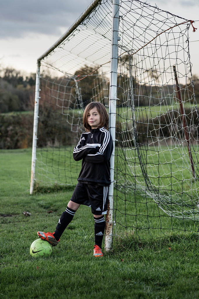 Luca Crowfoot photographed at Ockley football pitch