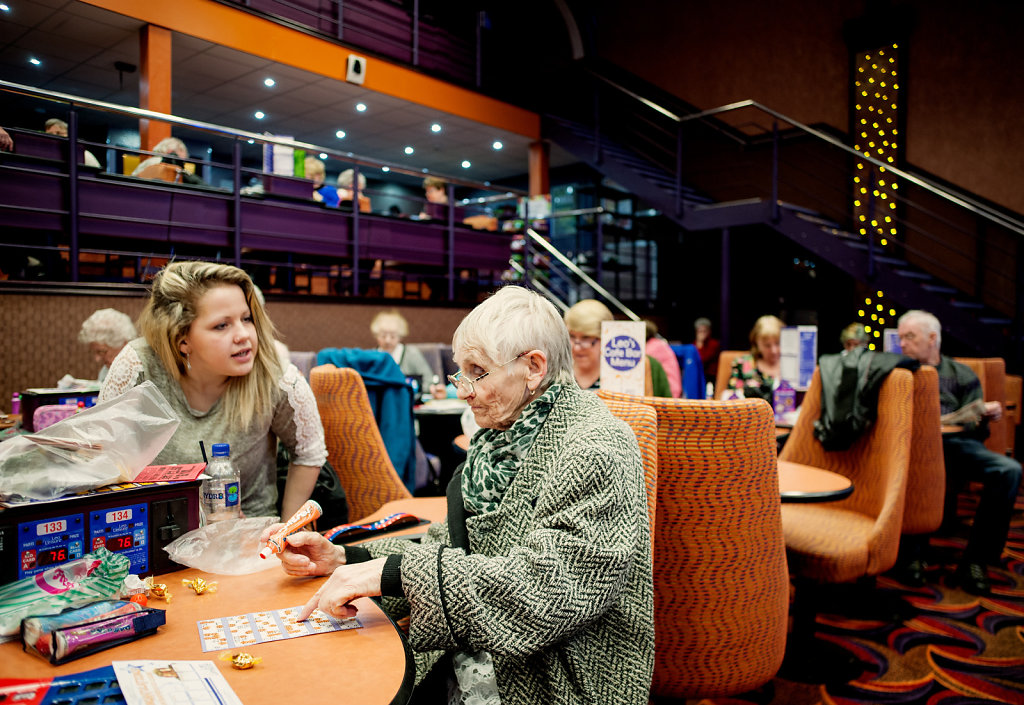 Audrey and her grand daughter playing bingo, Leo Leisure, Eastbourne
