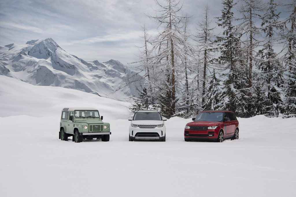Three Land Rovers in the French Alps for 'Line In The Snow'
