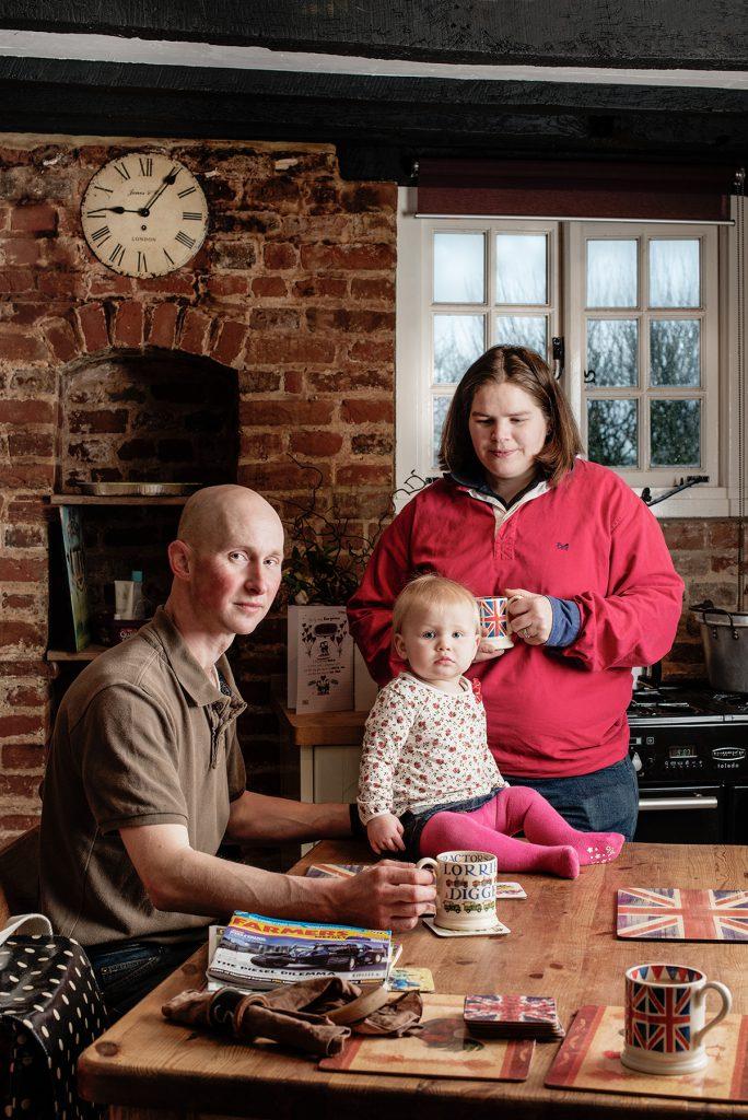 Keith, Natasha & Nellie Budd photographed at home