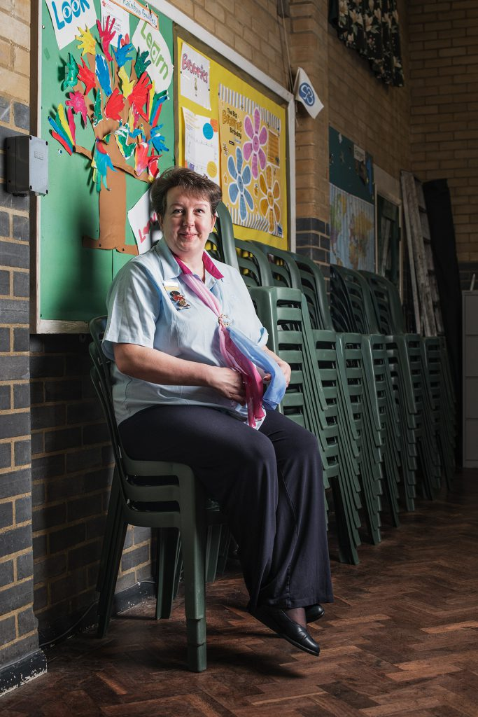 Caroline Budd photographed in the United Reform Church Hall