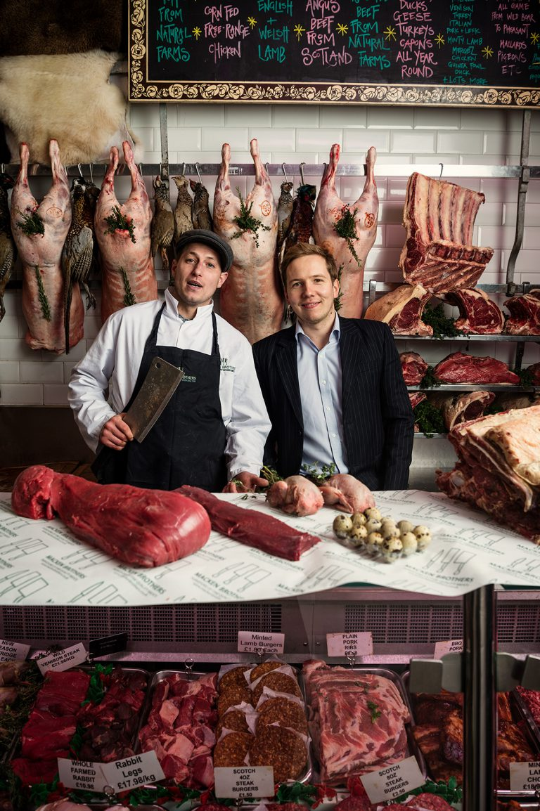 Aaron of Macken Family Traditional Butchers, and customer Charlie for Berkeley Homes Magazine
