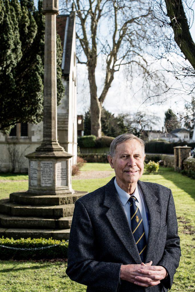 Colin Giddins photographed at Brockham War Memorial