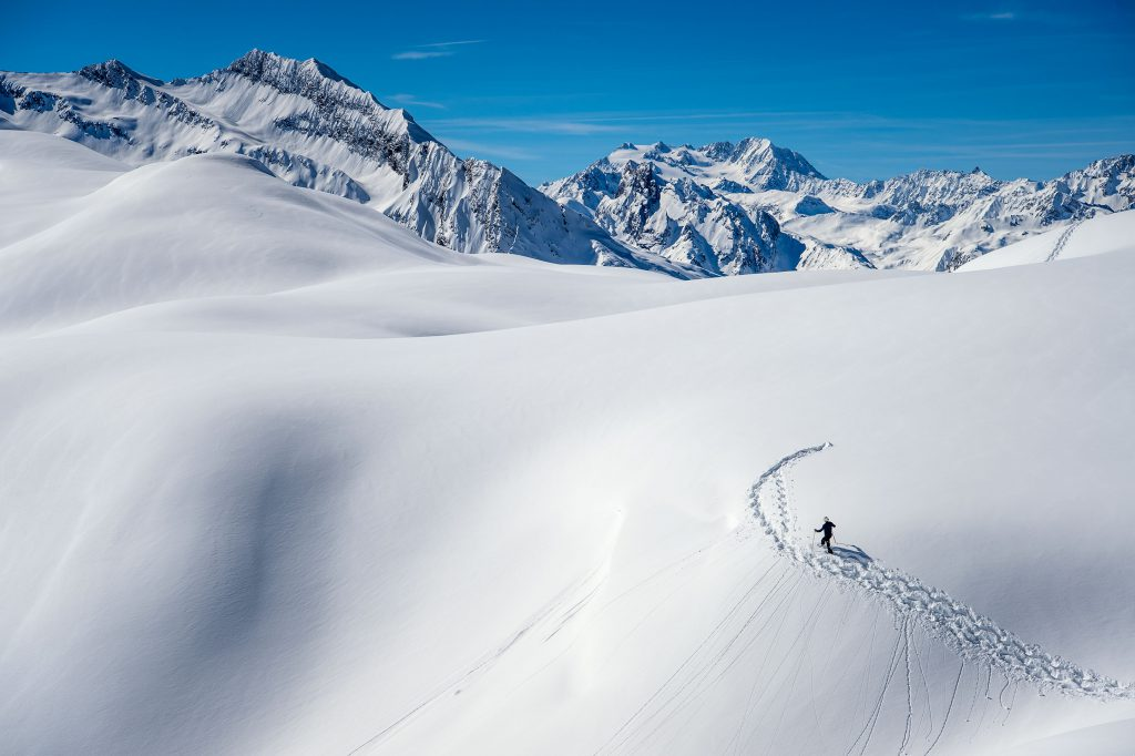 Snow artist Simon Beck creating 'Line in the Snow' for Lands Rover in the French Alps