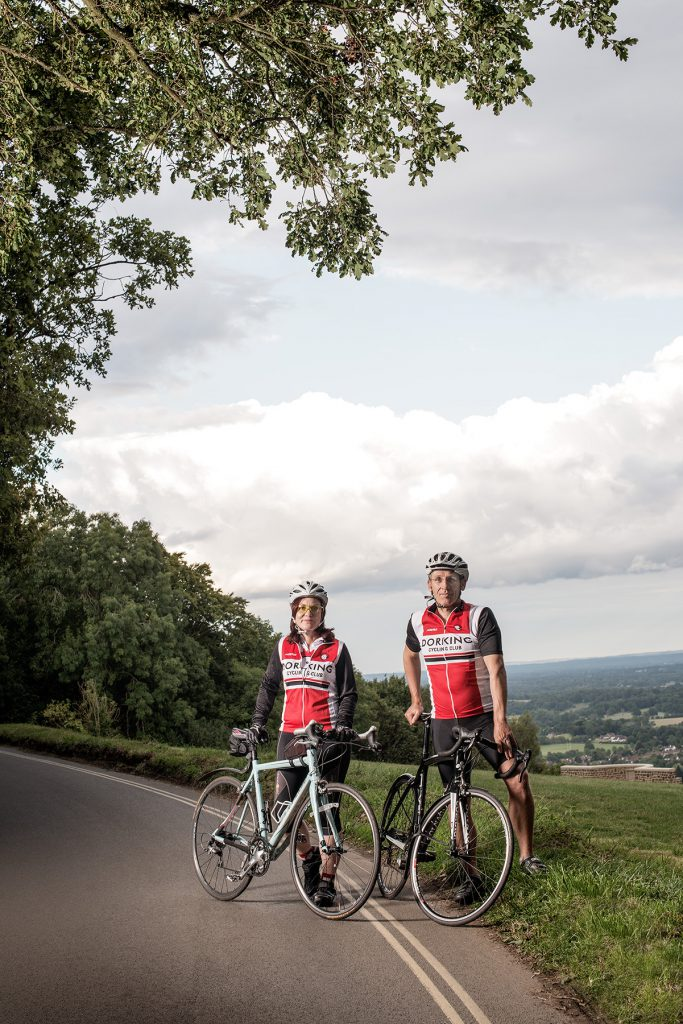 Melanie Aldridge and Gordon Friend of Dorking Cycling Club photographed at Box Hill