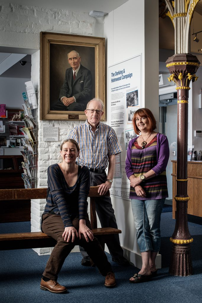 Erica Chambers, Peter Camp and Kathy Atherton photographed at The Dorking Museum