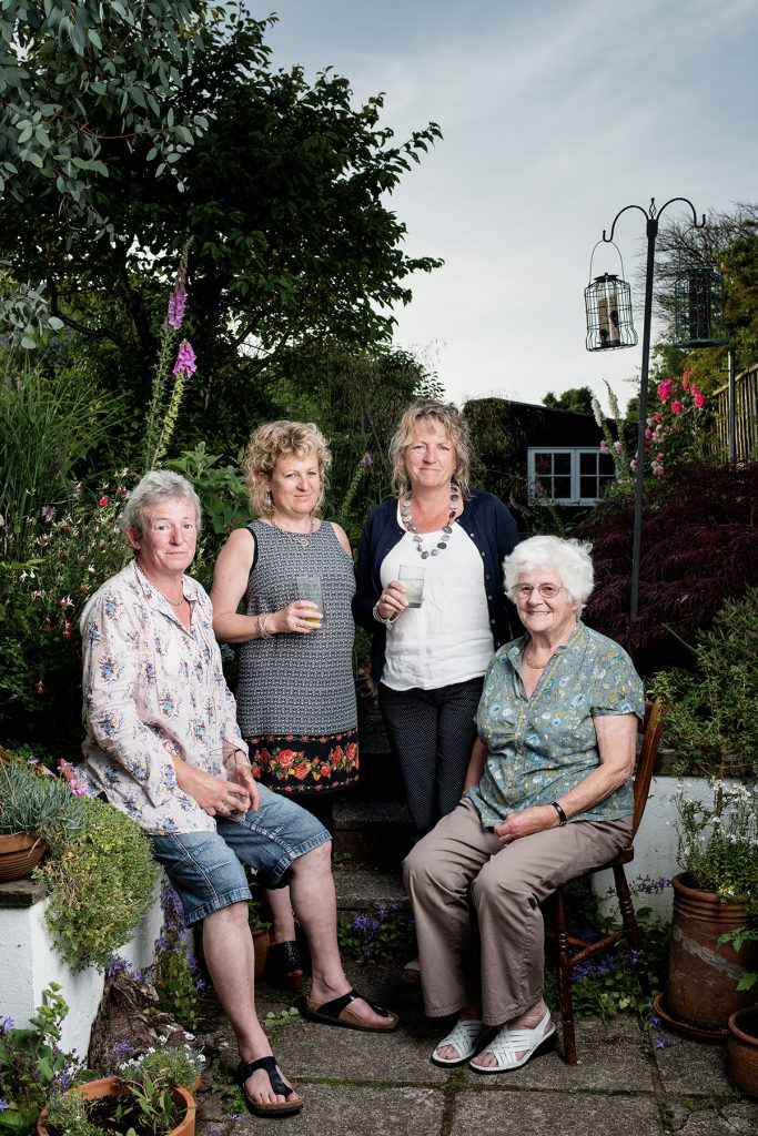 Elisabeth Gaunt (seated right) with her daughters Fliss, His and Ros