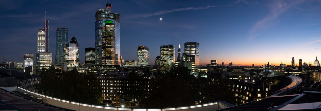 The City of London at dusk for Proctor & Stevenson