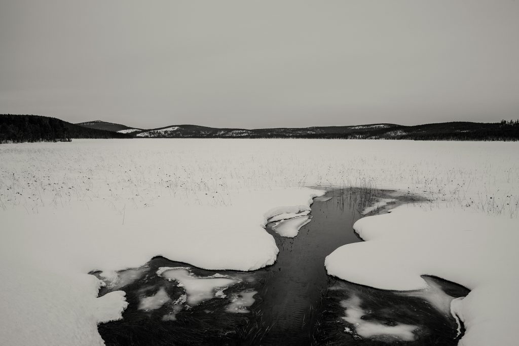 Frozen lake near Jokkmokk, northern Sweden
