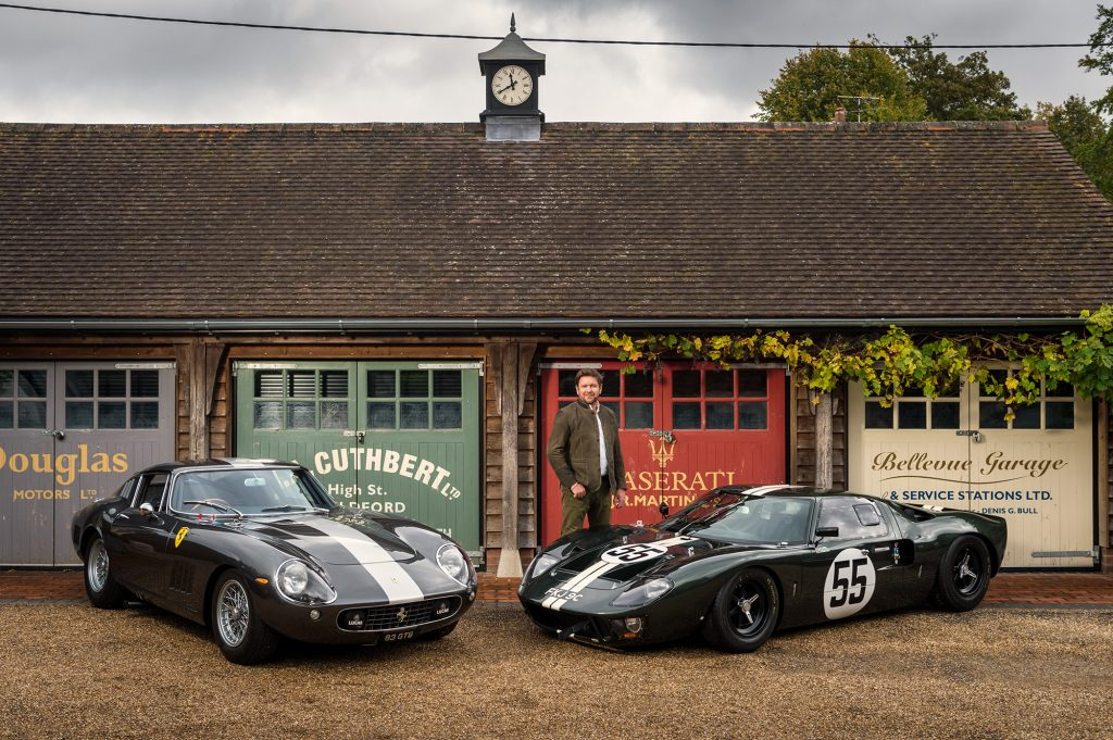 Chef James Martin (with his 1965 Ferrari 275 GTB/C and 1966 Ford GT40) for British GQ.
