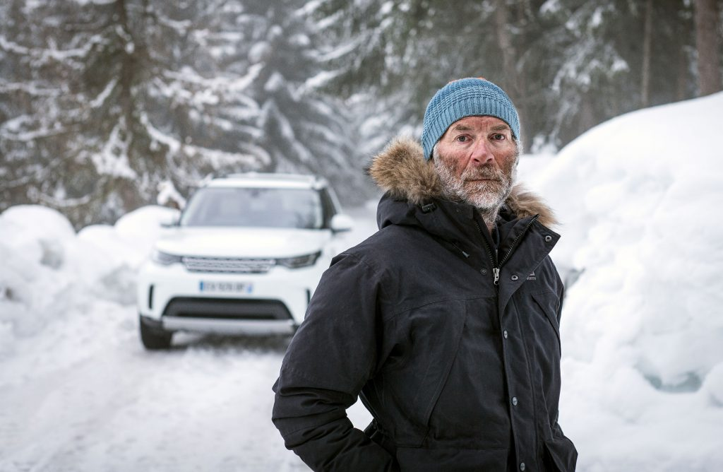 Snow artist Simon Beck photographed in the French Alps for 'Line in the Snow', for JLR