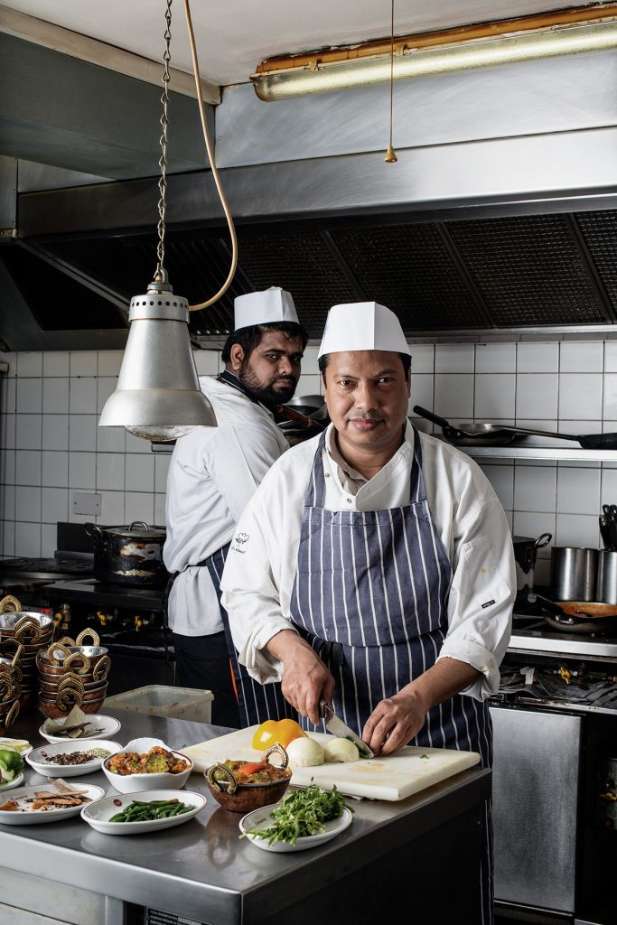 MD Shiraz Miah (with Syed Shoiab Al Sami) photographed in the kitchen of Dorking Brasserie