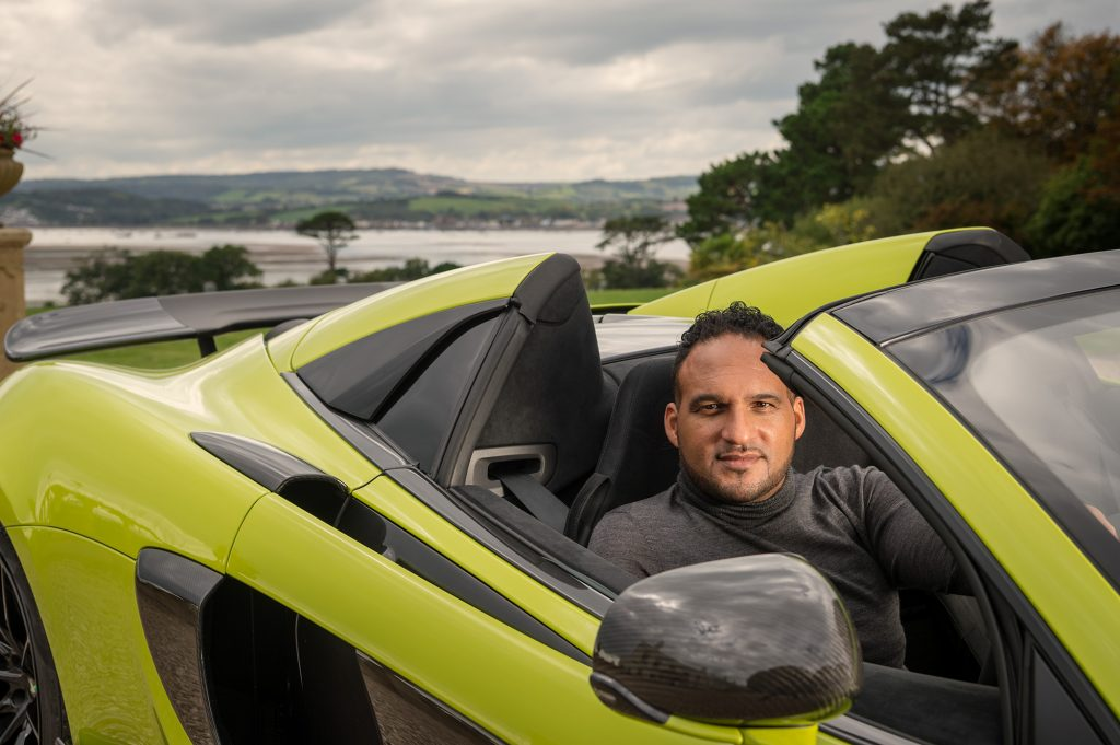 Chef Michael Caines (with his McLaren 600LT Spider) for British GQ.
