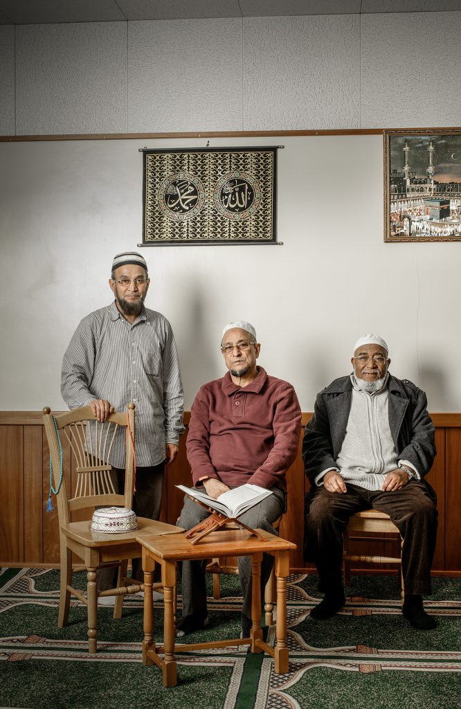 Mohammed, MD Akikur Rahman and visitor photographed at the Dorking Mosque