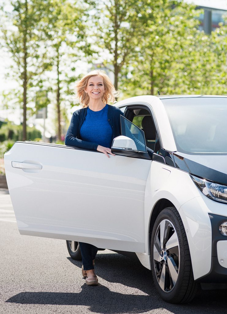 Rachel Riley and BMW i3 for The Guardian