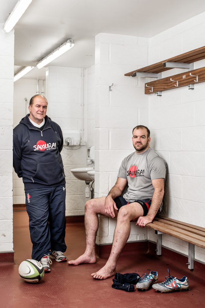 Richie Andrews and Armand Roux photographed at the Dorking Rugby Club