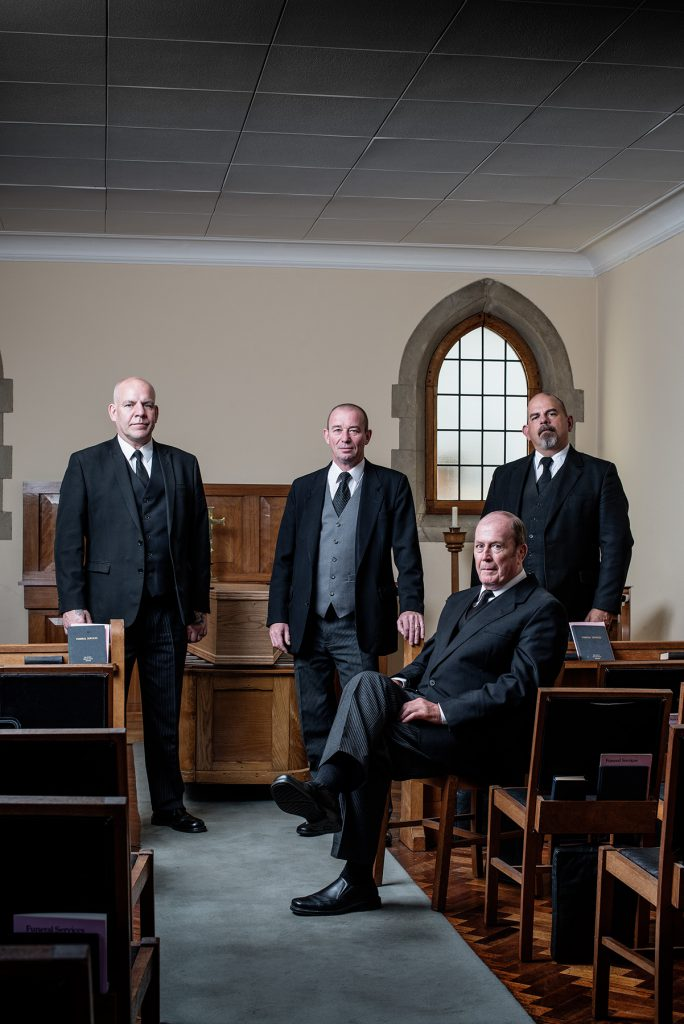 Paul Smith, Chris Stoneman, John Witty and Marc Isely photographed in Sherlocks Funeral Parlour