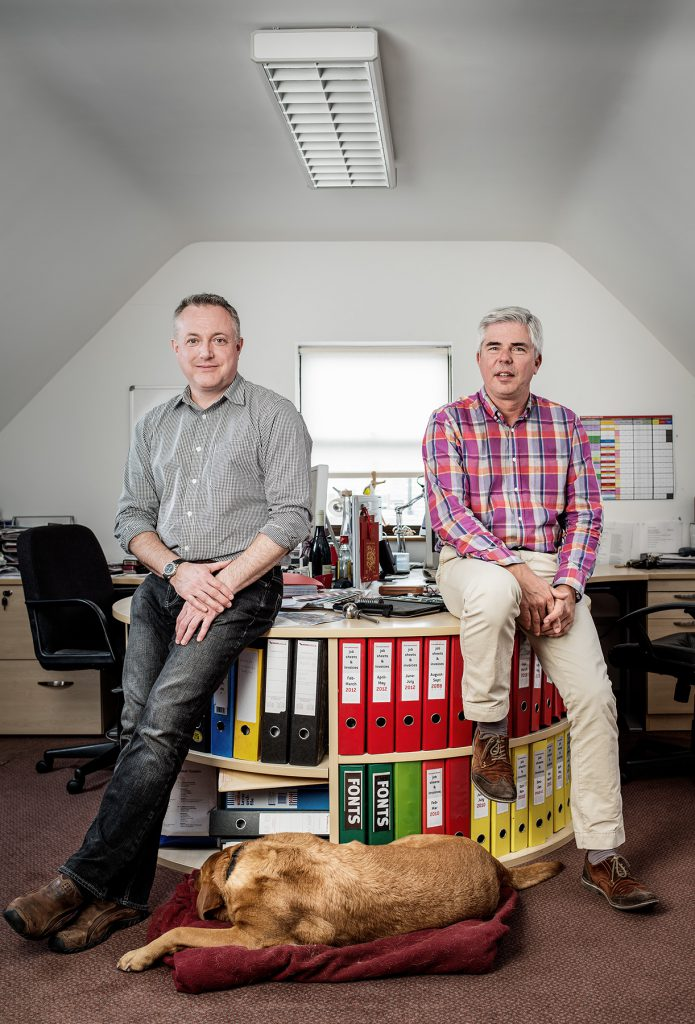 Simon Alder and David Cannon photographed in the offices of The Creative Team