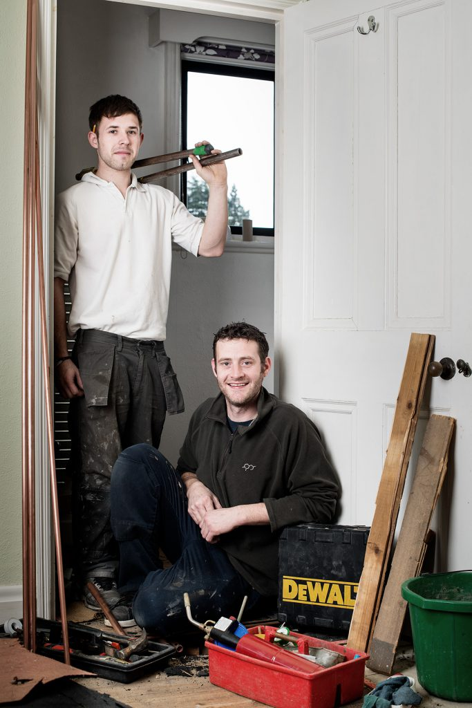 Tim Abel and Steve McTigue photographed at a clients home
