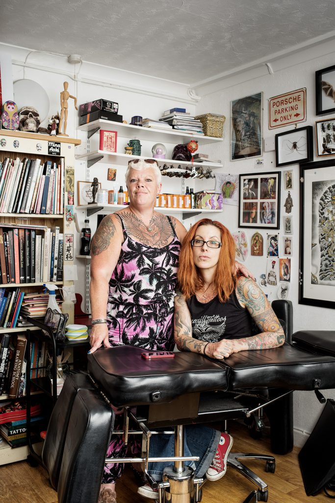 Dee O'Brien and Sophie Zie-Carreras photographed at Truewill Tattoos