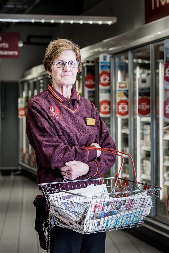Val Parrott photographed in Sainsburys