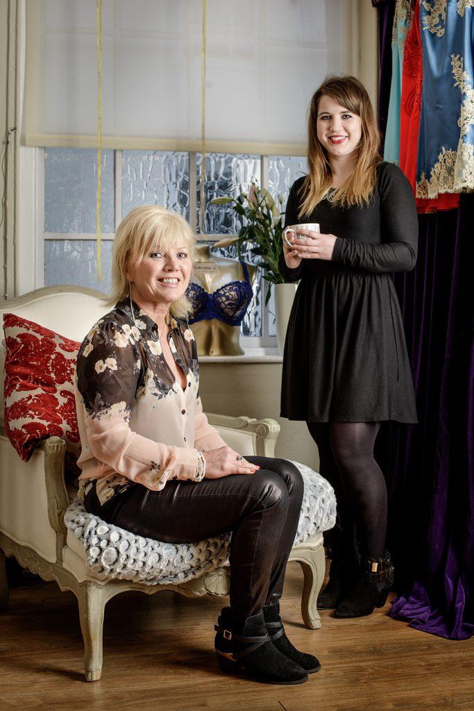 Vanessa and Victoria Legg photographed in Victorias Little Bra Shop